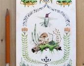 Hummingbird Botanical Watercolor Painting
