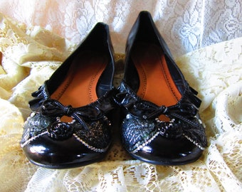 Upcycled Size 12 Victorian Black Ballet Flats