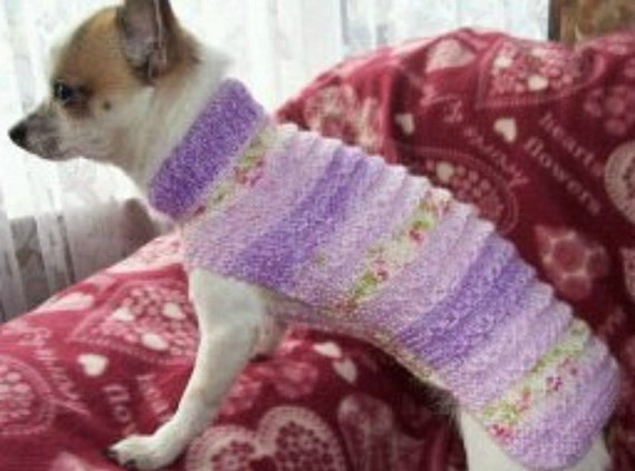 Hand Knitted Patterns For Dog And Cats Coats : Items similar to 8