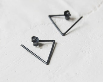 Triangle hoop earrings // geometric triangle line // black triangle // silver earrings // Open triangle // GM024
