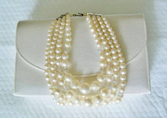 Vintage Necklace Laguna Pearl 4 Strand Wedding Bridal Party Jewelry Prom Big Bold Statement Gift for Her Christmas