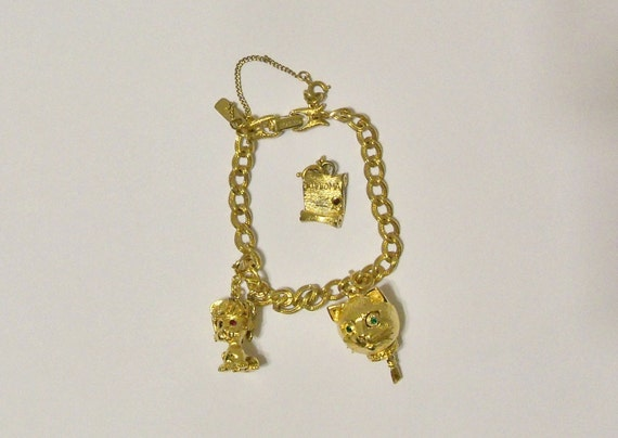 Vintage Monet Gold Tone 1960's Charm Bracelet Cat Head and Cat Charms Holiday Special Occasion Gift