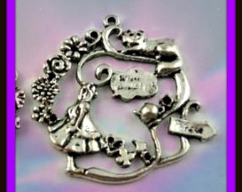 Alice In Wonderland Pendant Bronzetone Or Silvertone