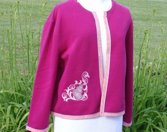 Fuschia Sweatshirt Jacket Embroidered Shell and Scroll Design on Sale