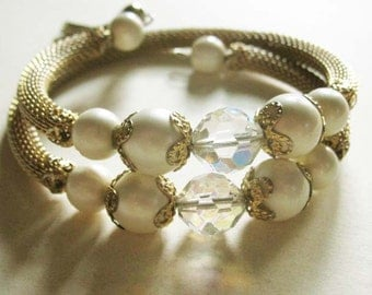 Vintage Serpentine Bracelet with Goldlook Stretch Band and Two Sets of White Beads and Crystals - Diamante Look