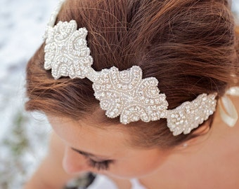 Bridal Headband, Rhinestone Headband, Wedding Hair Accessory, Bridal Accessories, Ribbon, AVA