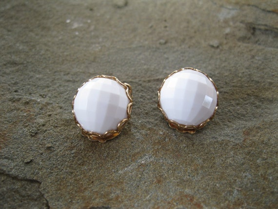 Napier Earrings White Geometric Design Balls Vintage Wedding