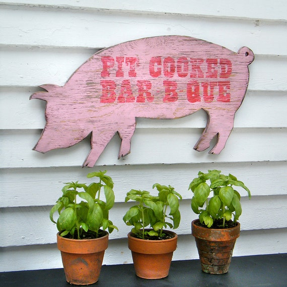 BBQ Pig Sign Pit Cooked Barbecue Grilling Sign Wall Art Outdoor Patio