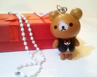 Wooden Teddy bear figure Cute Cool Emo Kawaii necklace Israel Hand made