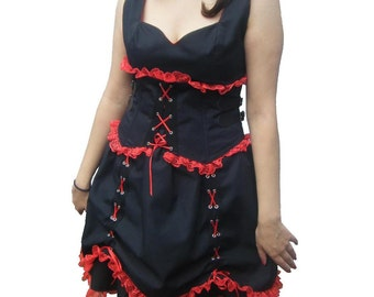 Gothic Lolita Dress and Waspie  Black & Red Steampunk Goth. One off original
