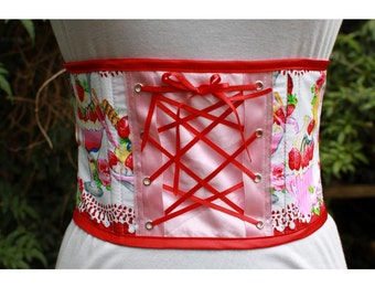 ice cream underbust corset  waspie. strawberry sundae print with red lacing. one of a kind Lolita