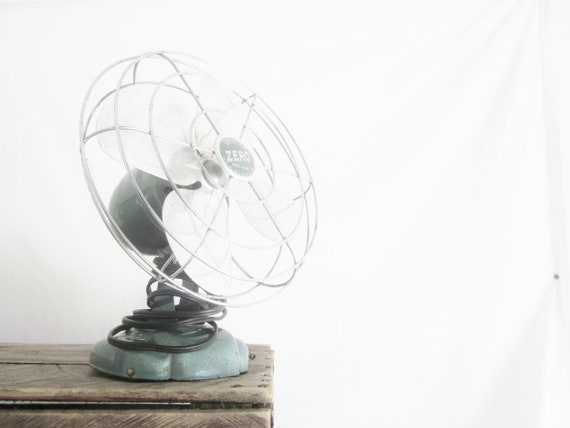 Vintage Fan Aqua Zero Shabby Cottage Beach Decor