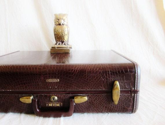 RESERVE Vintage Crocodile Style Luggage Samsonite Large Mid Century Travel Rustic Storage Dark Brown Leather