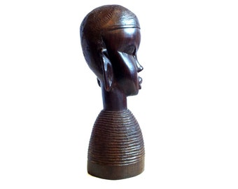African Wood Carving Head of Woman - Vintage Hand Carved Wooden Bust Abstract Tribal Style