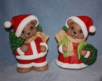 Handpainted Ceramic Mr and Mrs Santa Bear Claus Set carrying a Christmas tree and wreath