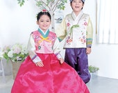 beautiful traditional Korean dress is called Hanbok for girl's first birthday celebration or holiday and party