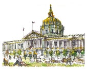 San Francisco City Hall print from a watercolor sketch in gold, grey and green - 8x10 print