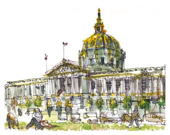 San Francisco City Hall print from a watercolor sketch in gold, grey and green