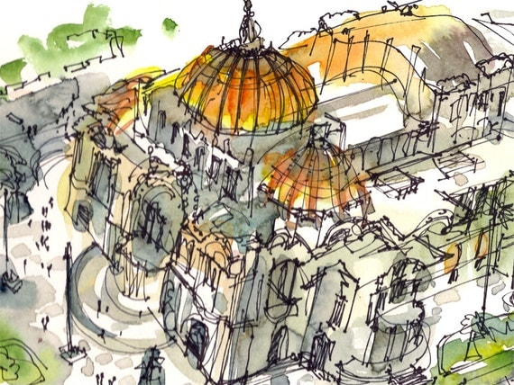 Art Deco Building gold dome, Mexico City, watercolor sketch gift for traveler - print in gold, green and grey