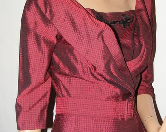Vintage 1950s Dress. Bombshell. Wiggle. Red and Black. Sm/Med