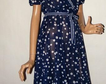SALE! Vintage 70s All Girl Flirty Blue & White Polka Dot Near Sheer Wrap Bodice Self Tie Belt Small 34