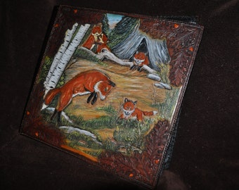 Special order Photo Album Handcarved leather picture of Fox family and oak leaves