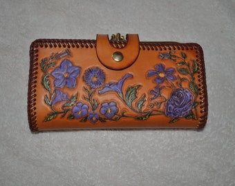 Women's Clutch Purse Handcarvered Leather with purple flowers