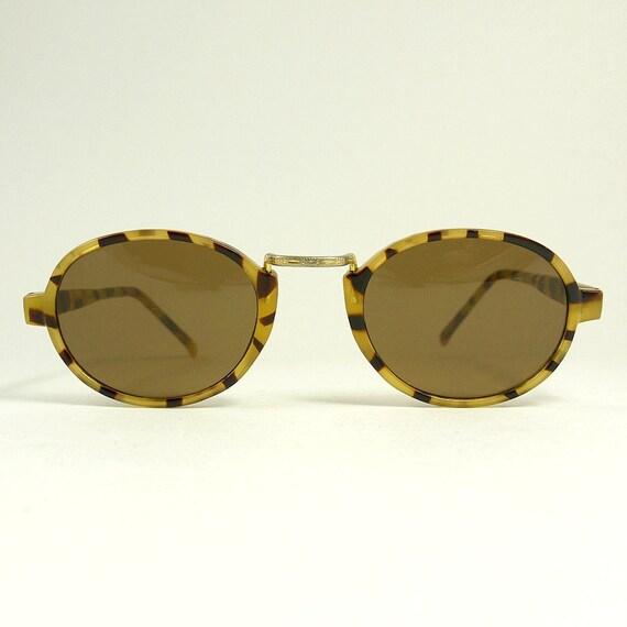 Vintage 90s Grunge Brown Faux Tortoiseshell and Metal Sunglasses