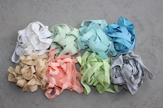 Fold over elastic 8   colors 2 yards of each color  5/8 inch wide