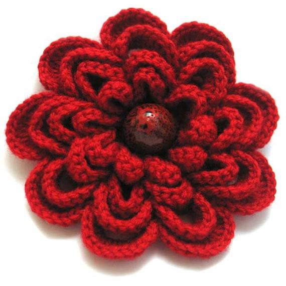 Crochet A Flower Brooch Pattern : Winter flower warm red crochet flower brooch elegant pin for