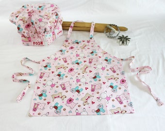 Pink Puppy Child Apron and Adjustable Chef Hat