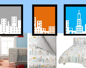 "City Skyline Art // Skyline Nursery Decor // City Wall Art // Modern Nursery Decor // Skyline Wall Art // Skyline Art // 3-5x7"" PRINTS ONLY"