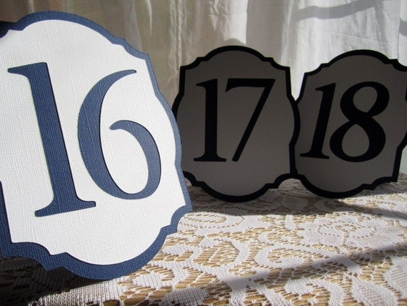20 Wedding Table Numbers in Navy Blue and White - Choose Your Colors