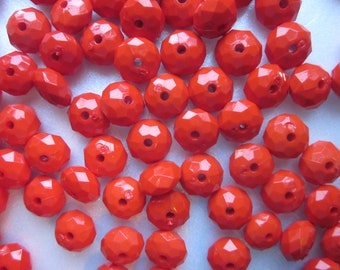 Red Faceted Acrylic Beads 11mm 20 Beads