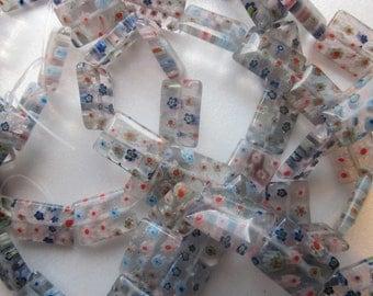 SALE - Multi Color Millefiori Glass Rectangle Beads 18x13mm 20 Beads