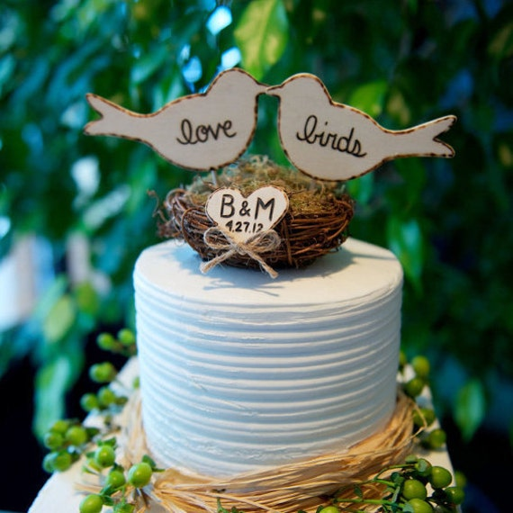 As Seen On The Knot, Personalized Rustic Love Birds in Nest Cake Topper
