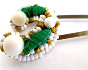 Emerald Green Hairpins Hair Accessories Repurposed Vintage Jewelry Bridal Hairpieces