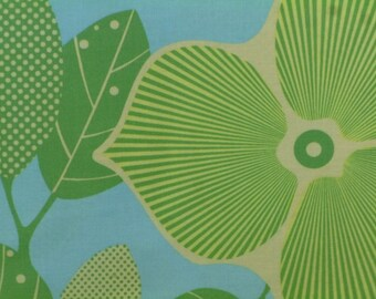 Amy Butler Fabric, Midwest Modern Optic Blossom, Icee, (AB27),Green, Blue, Floral