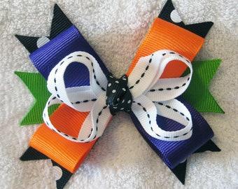 Halloween Multi Layer Grosgrain Ribbon Boutique Bow - Black, White, Purple, Orange, Green