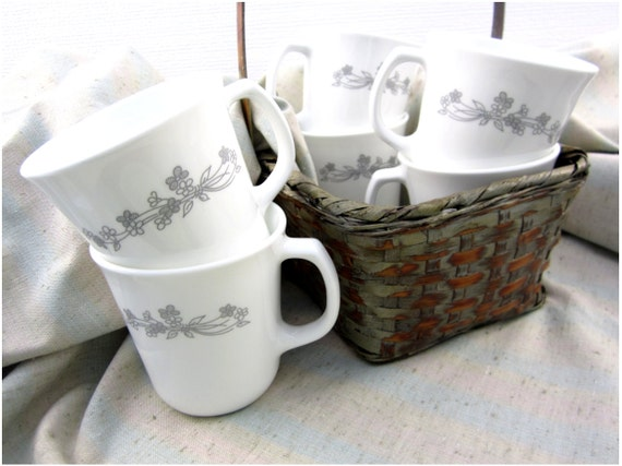 Vintage Corelle Livingware Ribbon Bouquet Suprema Coffee Cup Mugs Set of Six 6, Grey White Floral Flowers