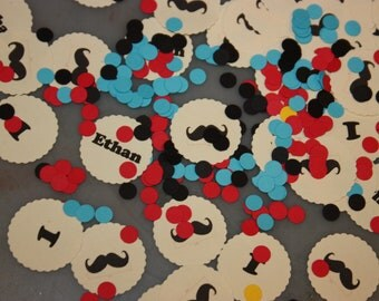 300 Personalized Mustache Confetti / Littleman / My Handsome man / Birthday