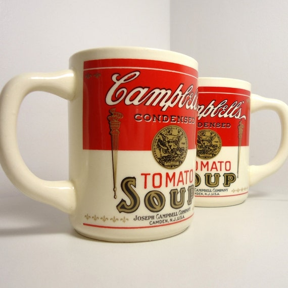 What a Hot Tomato! Early '70s Soup Mugs, the Real Thing - Set of 2 Mugs - Treasury Item