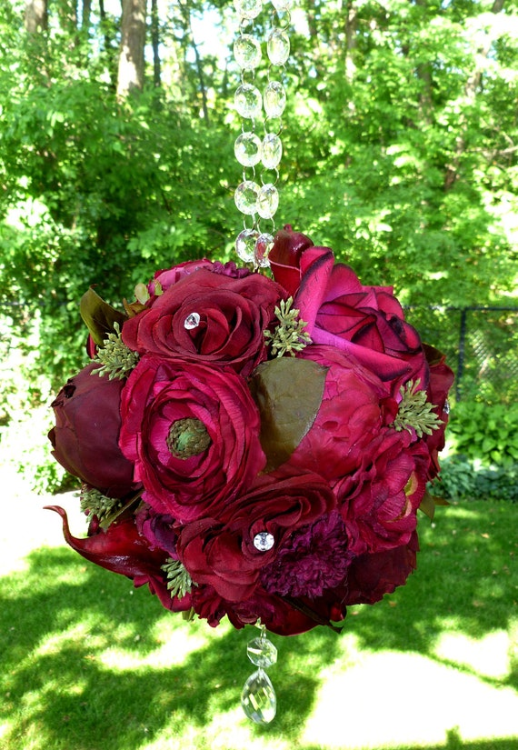 SALE Cranberry Eucalyptus Bridal Pomander with Crystal Handle and Accents