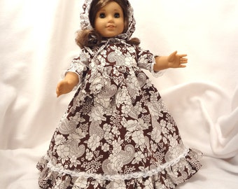 Dark brown and white print, long dress for 18 inch dolls, with white lace.
