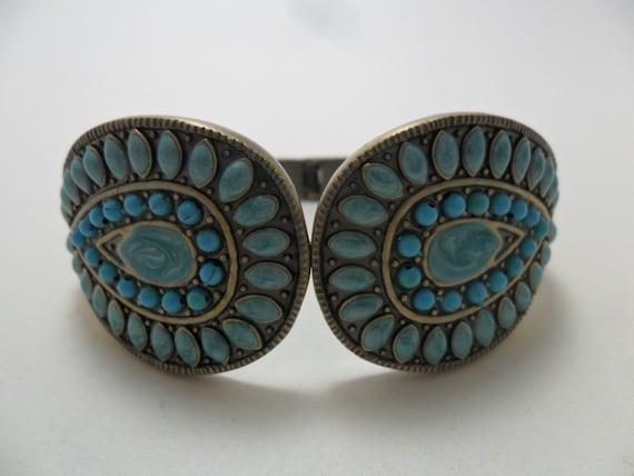 Vintage Bracelet / Cuff Turquoise Statement Large Chunky Art Deco Retro Cuff Boho Silver Tone Metal 1980s