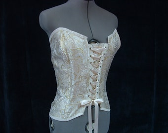 Ivory and Gold Brocade Corset