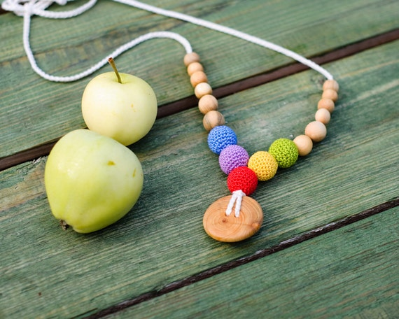 Button Rainbow Babywearing Necklace / Breastfeeding Teething Necklaces for mom to wear - Handmade Wooden Teether - KangarooCare