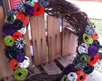 "Decorative 18"" Halloween Rosette Wreath"