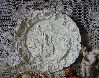 Shabby, Vintage Carved European countryside, Creamy white, Wall medallion, ornate, Painted