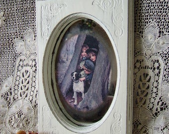 Shabby Victorian Cottage Framed Mirrored picture, Rain, rain, go away, distressed, creamy white, 80s